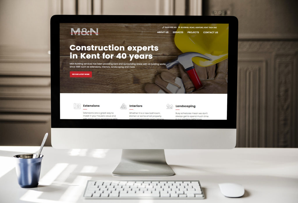 M&N Building Services Homepage on Device